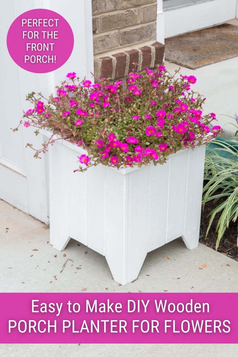 wooden porch planter box with pink flowers and text Easy to make DIY wooden Porch Planter for flowers