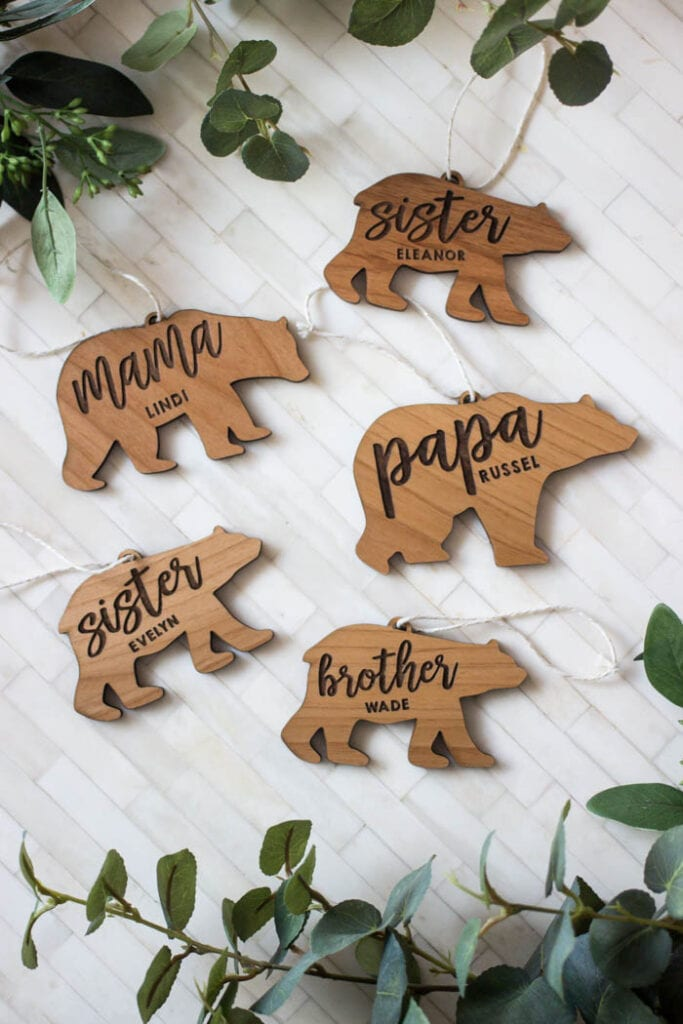 Wooden bear shaped ornaments personalized with names