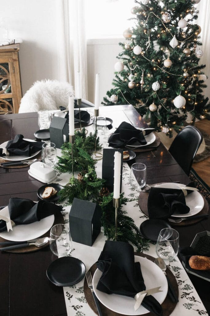Modern Christmas decor table scape with DIY stamped table runner