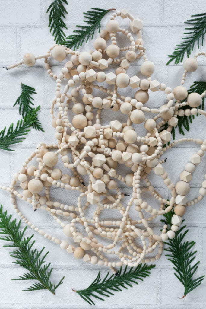 DIY Wood Bead Christmas Tree Garland