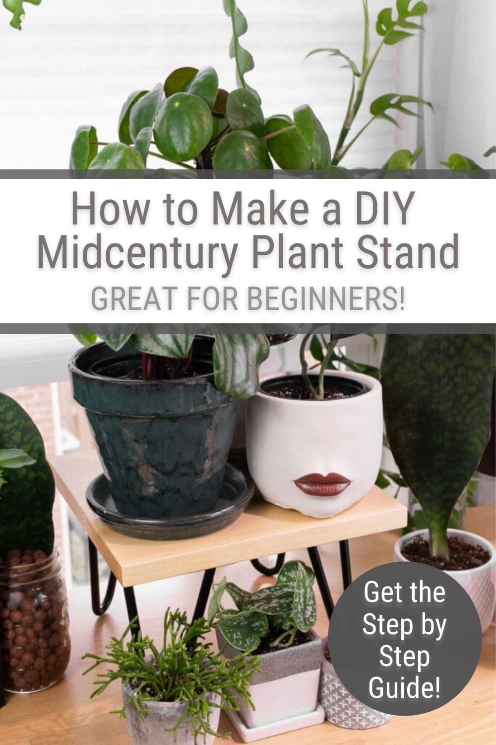 DIY midcentury plant stand with plants on it and text How to Make DIY Midcentury Plant Stand Great for Beginners