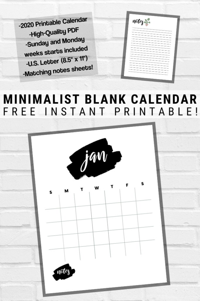 Free Printable 2020 Calendar for Minimalist Plant Lovers