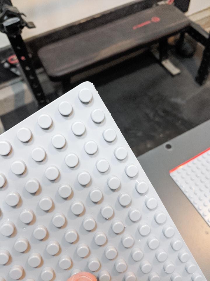 cutting plastic lego baseplates