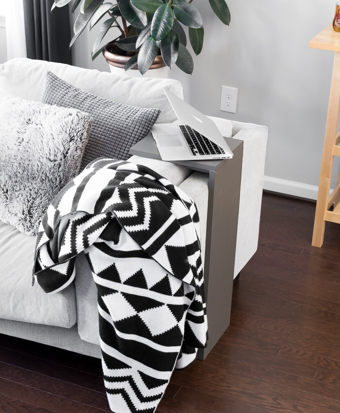 DIY space-saving sofa end table