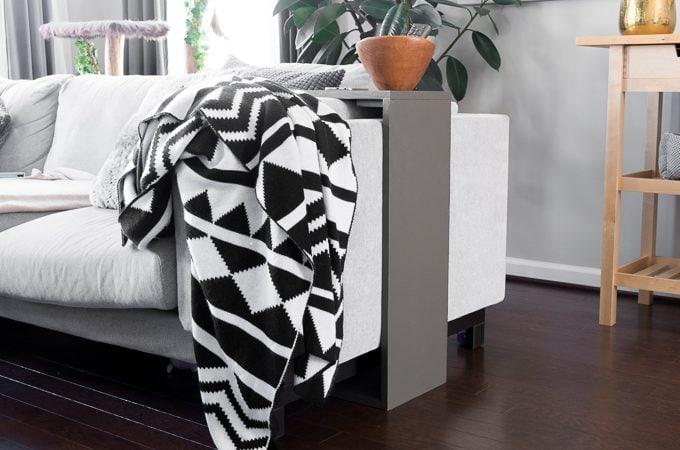 DIY space-saving sofa end table