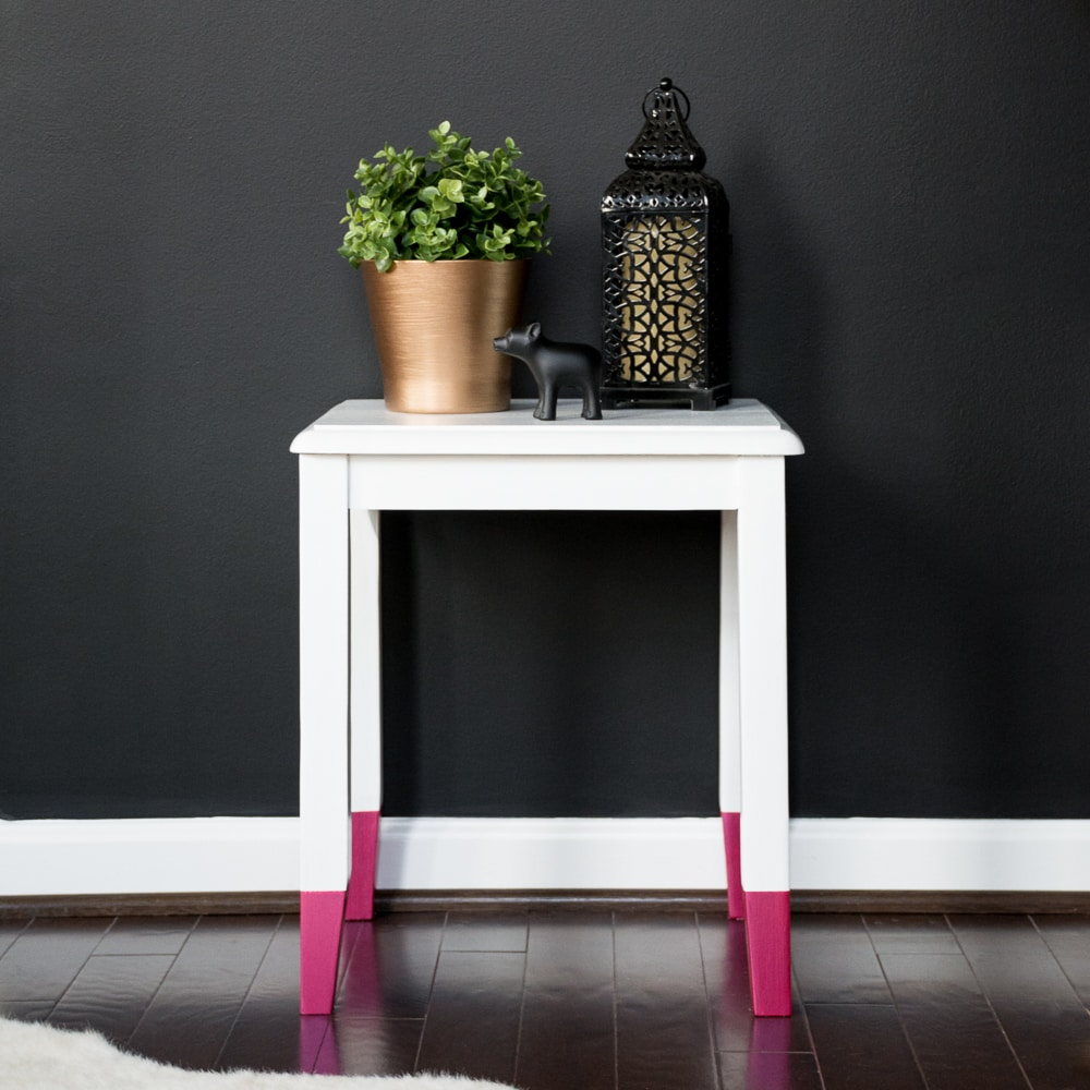 DecoArt Americana Decor Satin Enamels Pure White and Extreme Sheen Pink Tourmaline Side Table Makeover