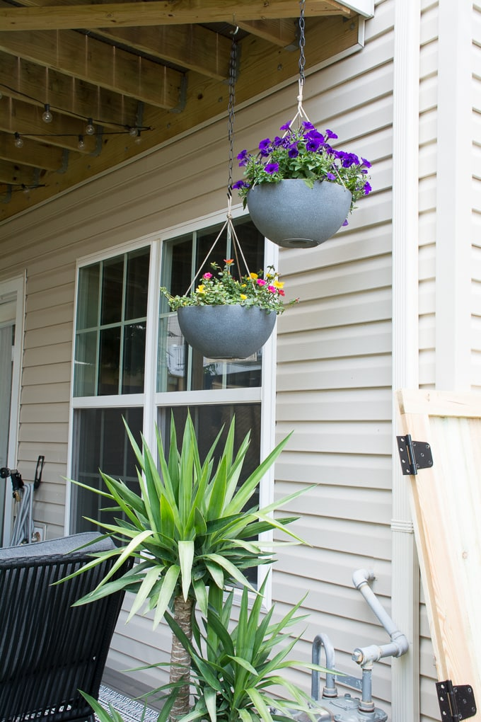 Hanging baskets for a small backyard deck
