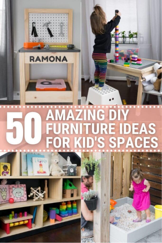 image collage of kid's diy furniture with text 50 Amazing DIY Furniture Ideas for Kid's Spaces