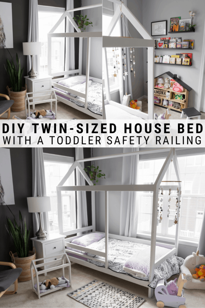 DIY toddler house bed with safety railing