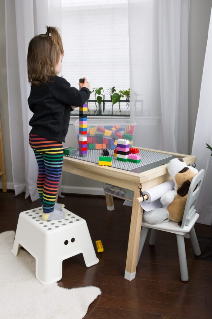 DIY Lego Table With Storage and a reversible topper and attached paper roll for art