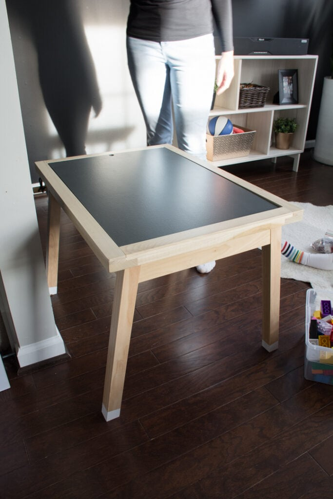 DIY toddler activity table with reversible topper for legos and art