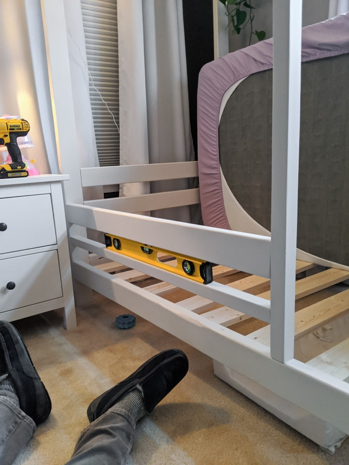 DIY toddler safety railings on a twin bed