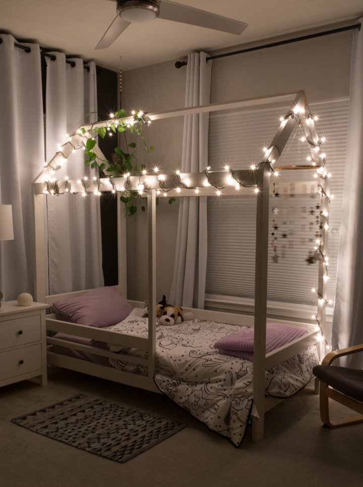 DIY toddler house bed with lights