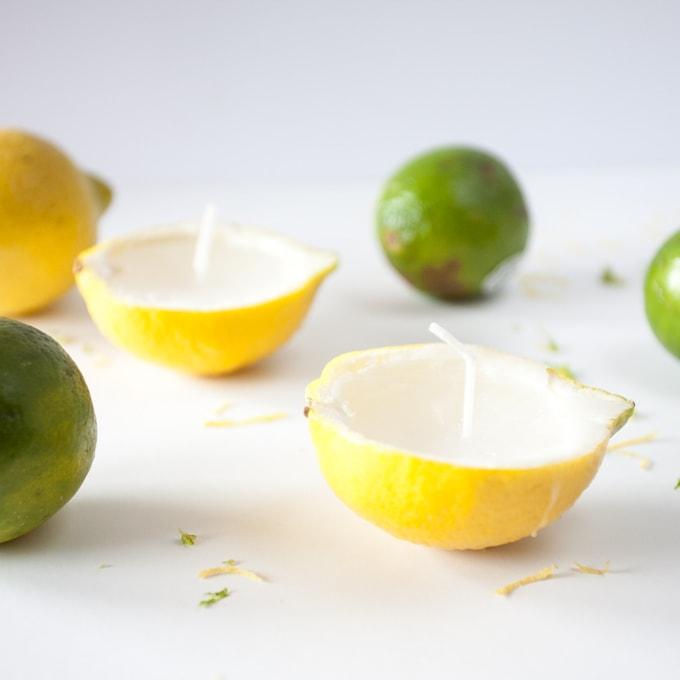 DIY beeswax citrus candles in lemon peels