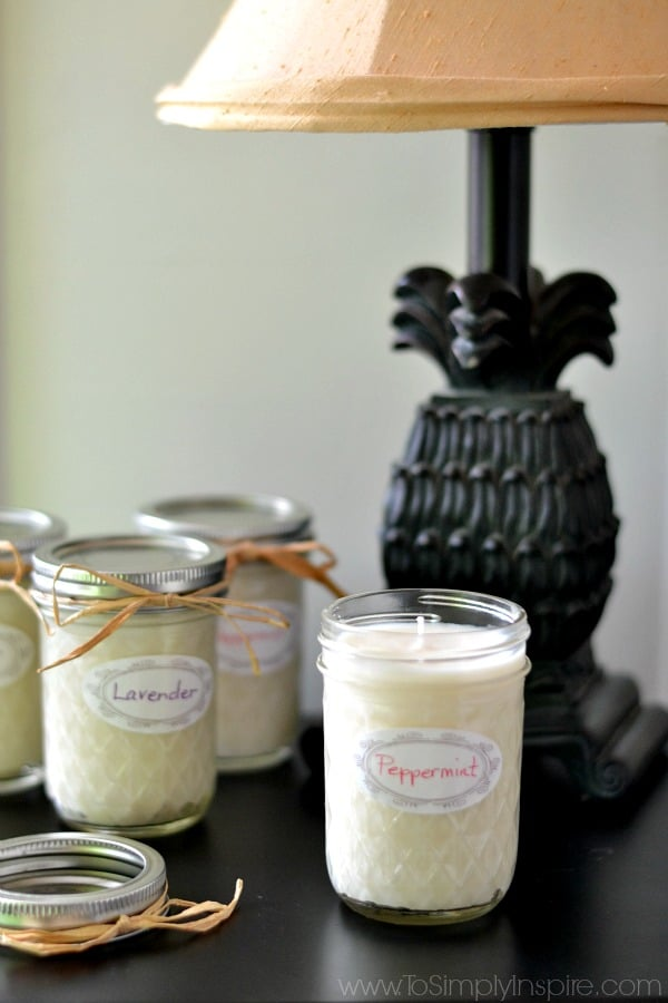 DIY soy candles in mason jars