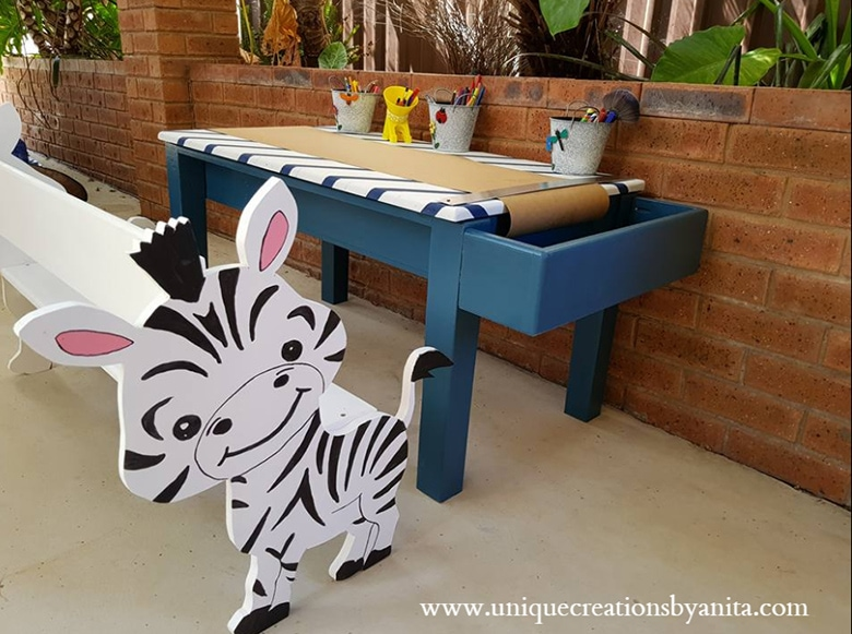 Kids craft table with zebra bench