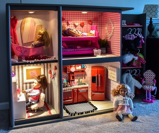 old entertainment center turned into an American Girl dollhouse