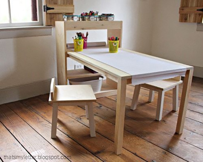 KIds art center with fold out desk and 2 chairs
