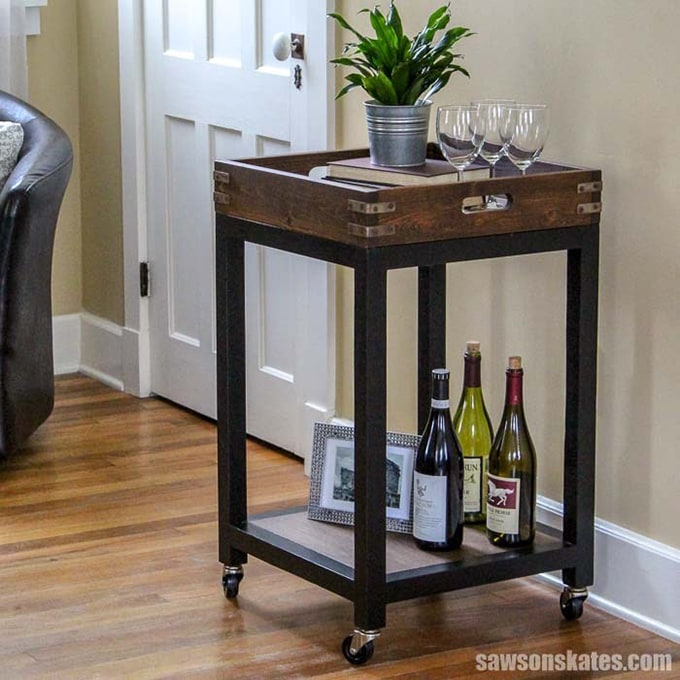 Bar cart with wooden removable top