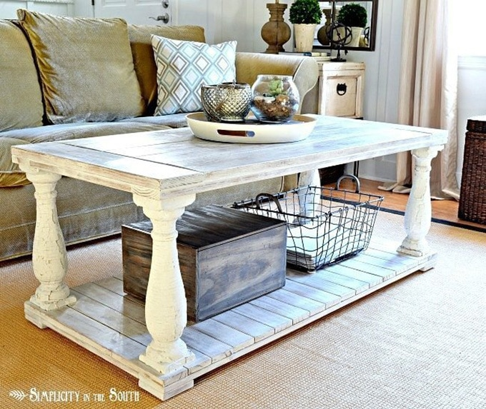 Restoration Hardware inspired DIY coffee table for the home