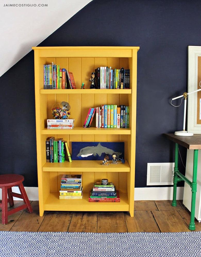 Yellow cottage style bookshelf