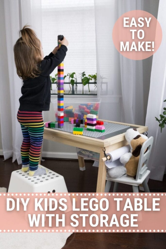 Lego table with little girl building a lego tower with text DIY Kids Lego Table with Storage