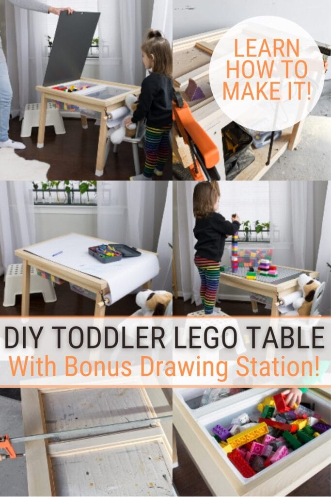 image collage of DIY Lego table with storage with text DIY Toddler Lego Table with Bonus Drawing Station!
