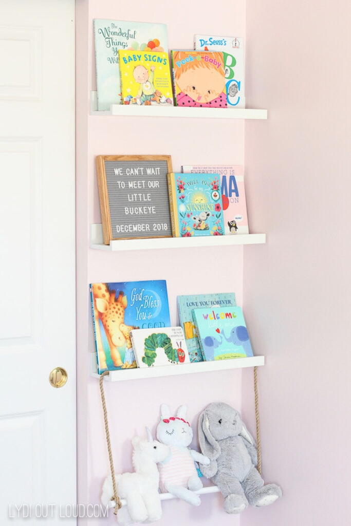 Floating shelves in a nursery