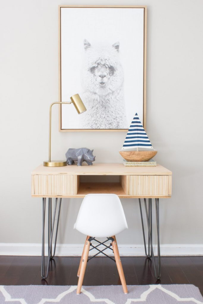 DIY plywood desk for kids spaces