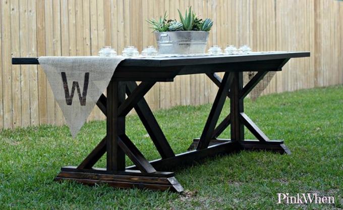 Farmhouse table sitting outside
