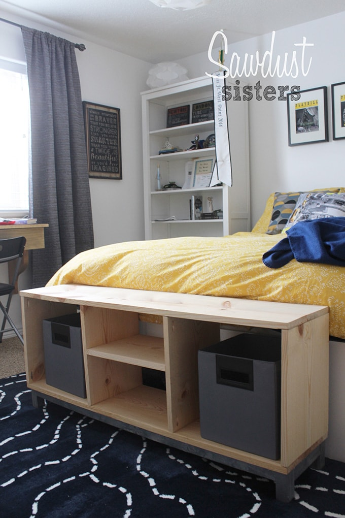 DIY bench with storage compartments