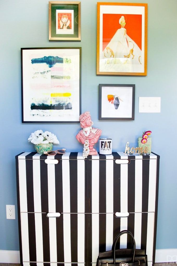 Black and white DIY shoe cabinet