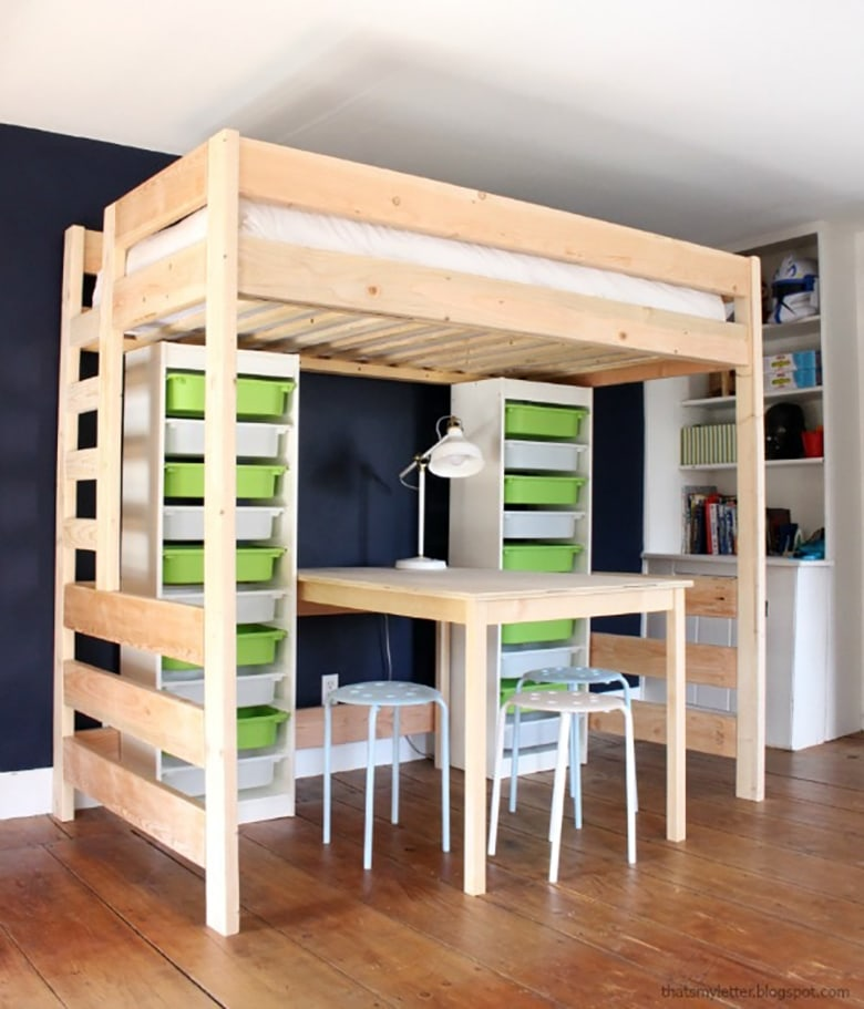 DIY loft Bed with Lego storage underneath