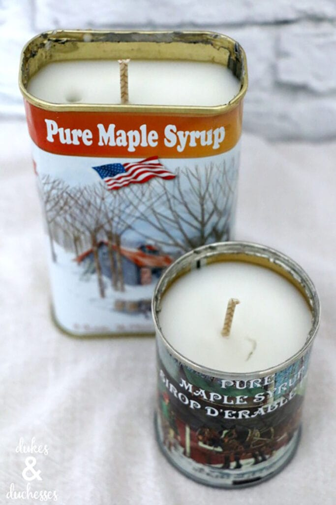 DIY essential oil candles in vintage maple syrup cans