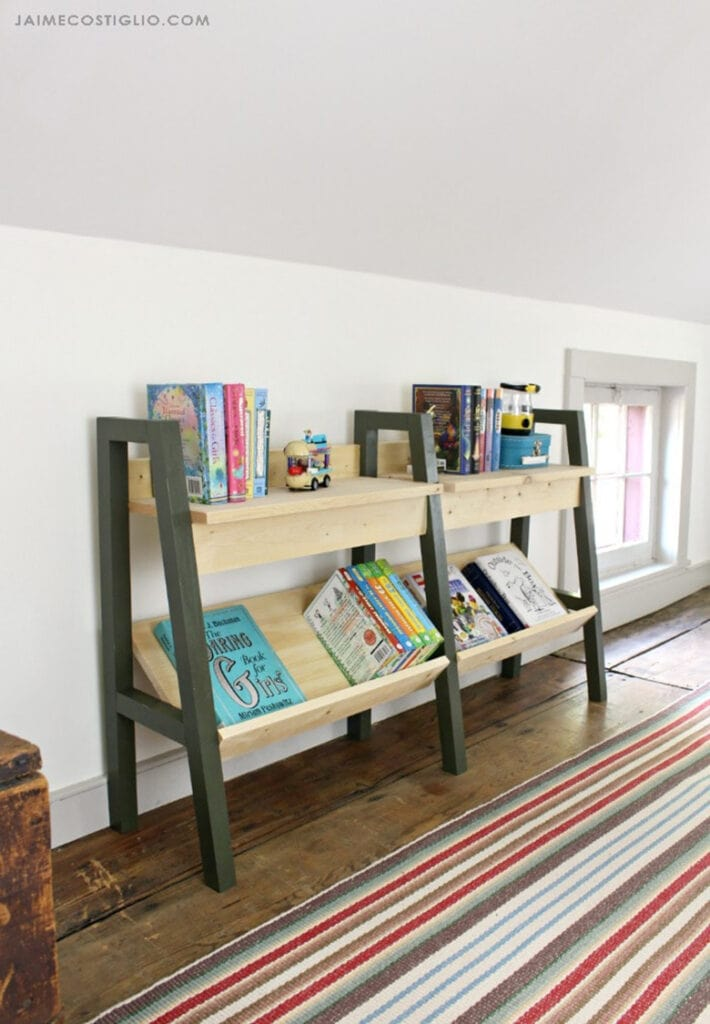 modern style two section bookshelf