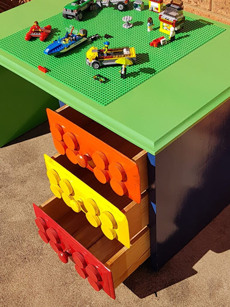 old desk repurposed into a lego table