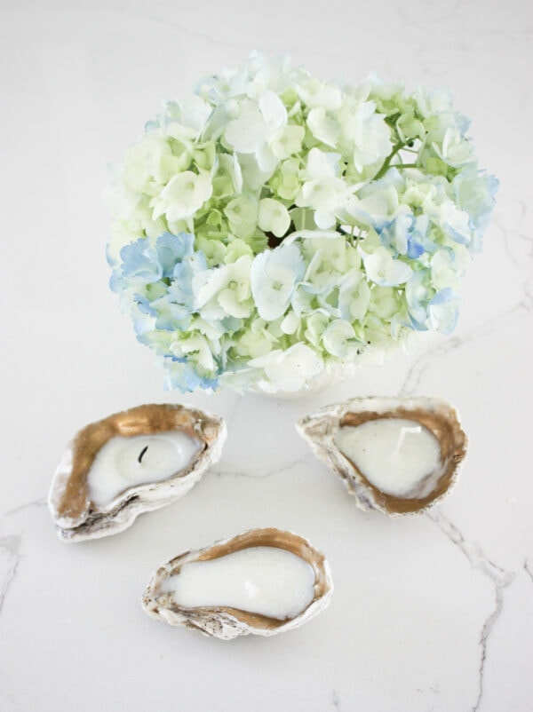 DIY soy tea light candles in oyster shells