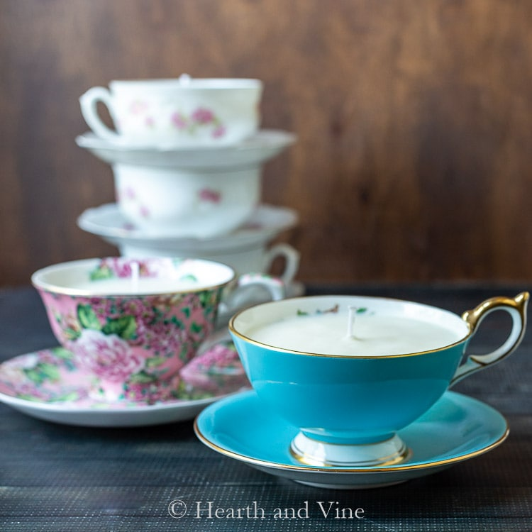 DIY soy candles in vintage tea cups