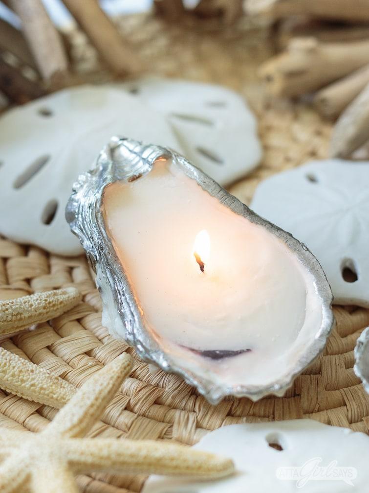 DIY essential oil candles in sea shells