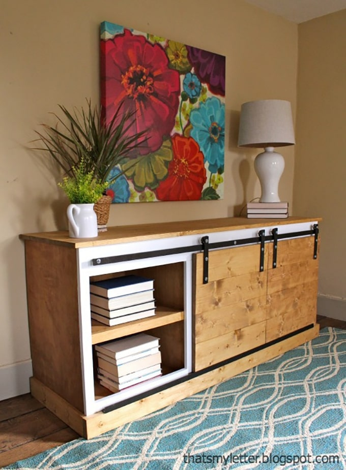 DIY Wood console table with sliding barn doors for the home