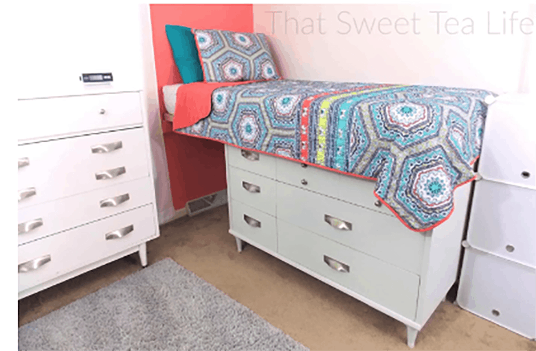 Platform bed made with kitchen cabinets
