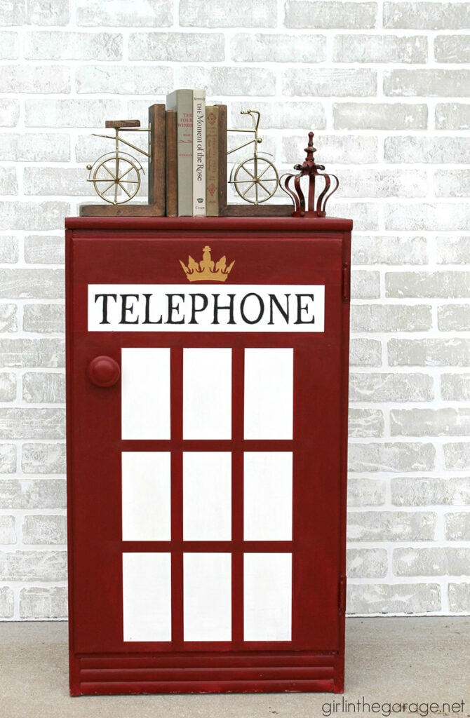 Old cabinet makeover to look like a London phone booth