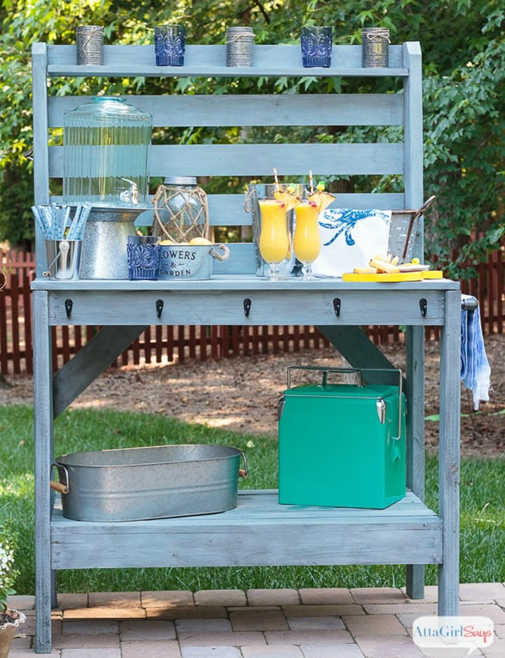 DIY outdoor buffet table or potting bench