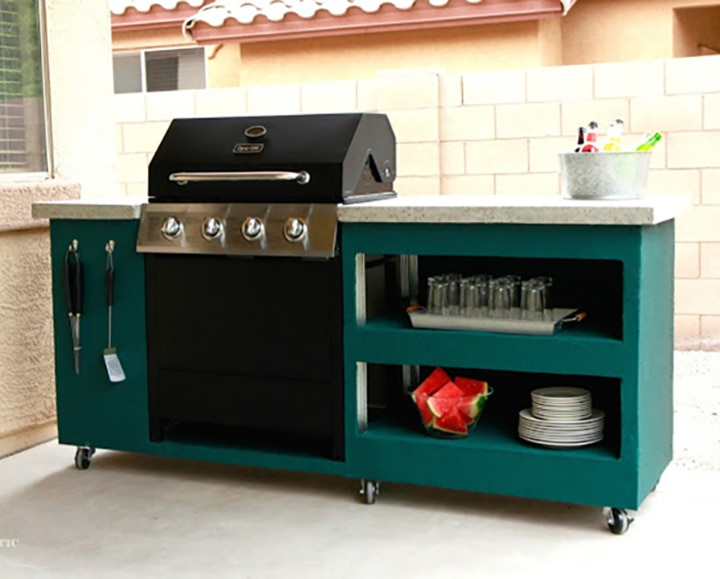 how to build an outdoor rolling kitchen island