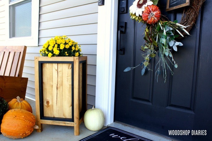 tall DIY modern porch planter