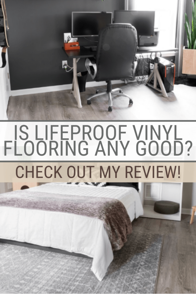 2 images of LifeProof oak flooring with text Is Lifeproof vinyl flooring any good? Check out my honest review