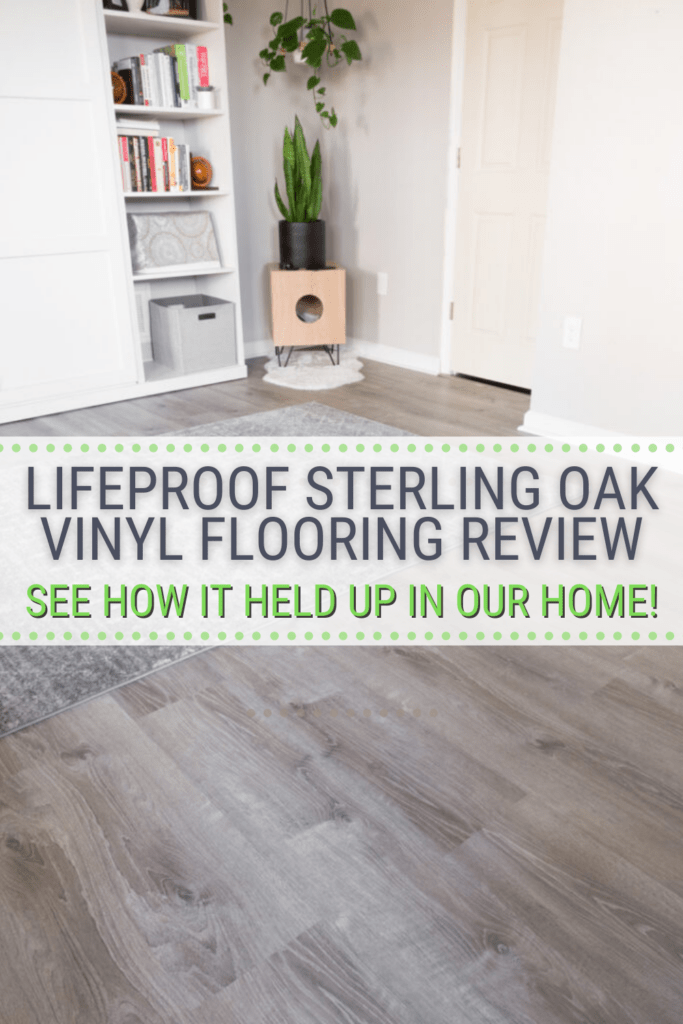 image of closed murphy bed and vinyl oak flooring with text Lifeprooj Sterling Oak Vinyl Flooring Review, See How It Held Up in Our Home