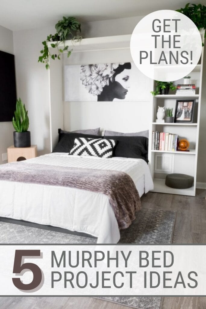 Murphy bed open with bed made and storage shelves with text 5 Murphy Bed Project Ideas