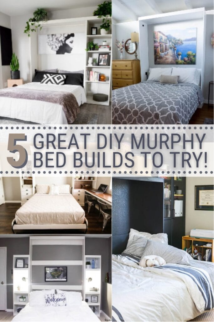 collage of DIY murphy beds with text 5 Great DIY Murphy Bed Builds To Try
