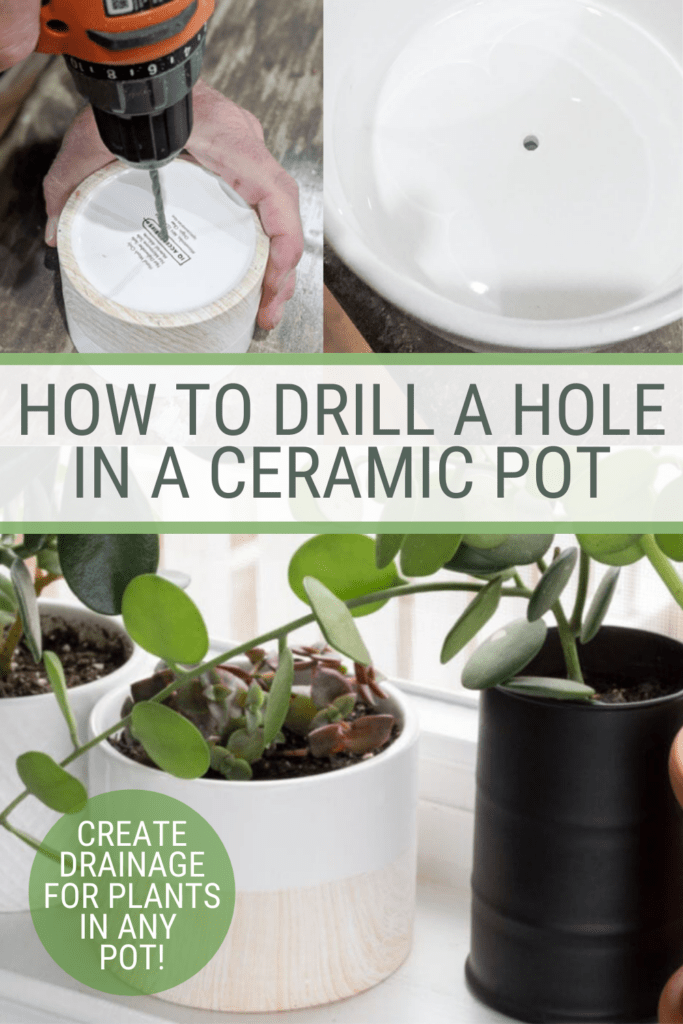 image collage of ceramic pots with plants with text how to drill a ;hole in a ceramic pot, step-by-step tutorial